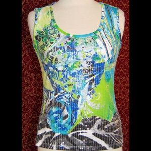 TRIBAL green stretch cotton sequin tank blouse PS